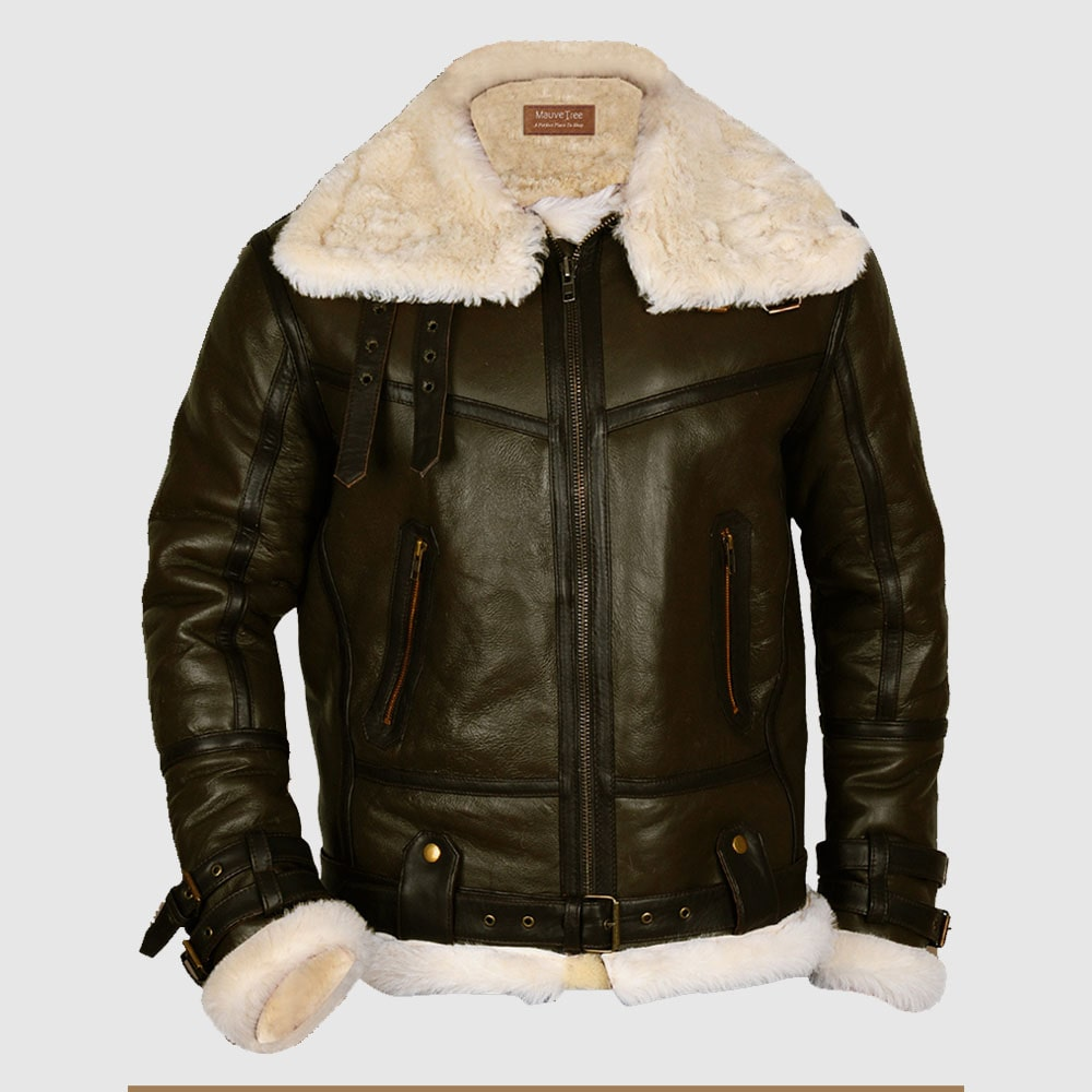 Army Green Men B3 Bomber Shearling Leather Jacket