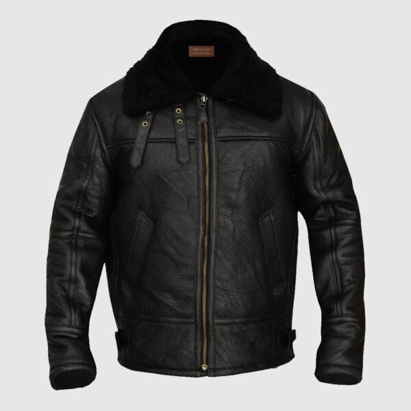 B3 Aviator Bomber Sheepskin Black Jacket