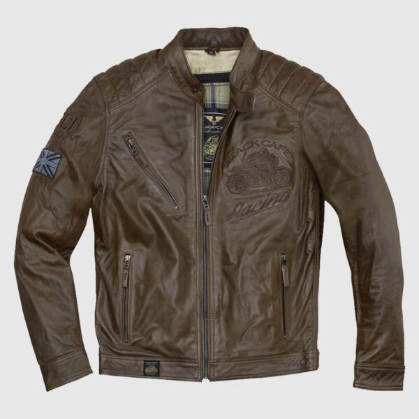 Black Cafe London Houston Motorcycle Leather Jacket For Men's