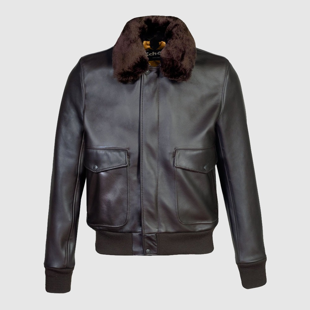 Cowhide Slim Fit Bomber Jacket