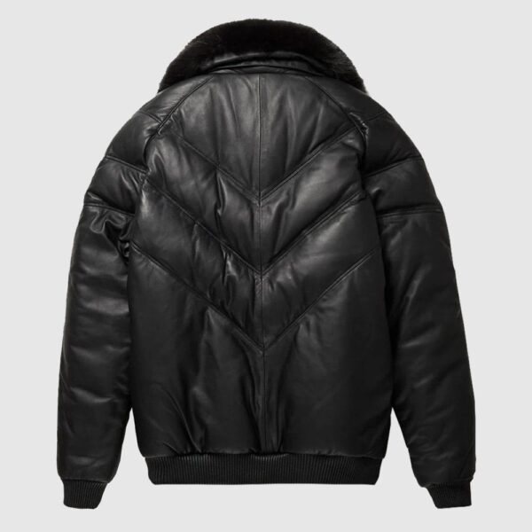 Leather V-Bomber Jacket Black with Black Fox Fur