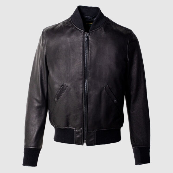 Lightweight Natural Pebble Cowhide Leather Bomber Jacket