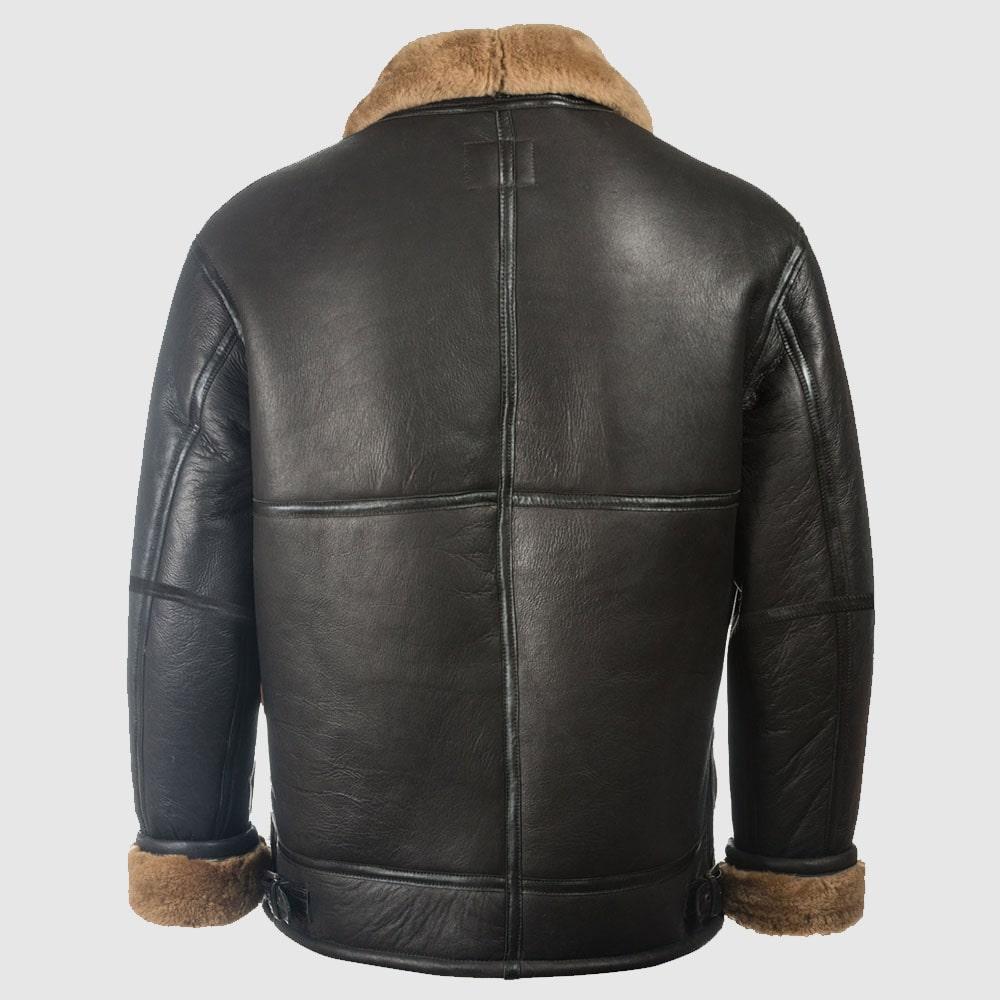 Men Black Aviator Shearling Jacket