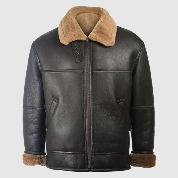 Men Black Aviator Shearling Jacket