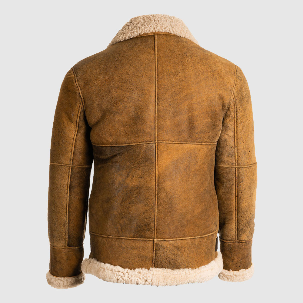 Men Brown B3 Shearling Leather Jacket
