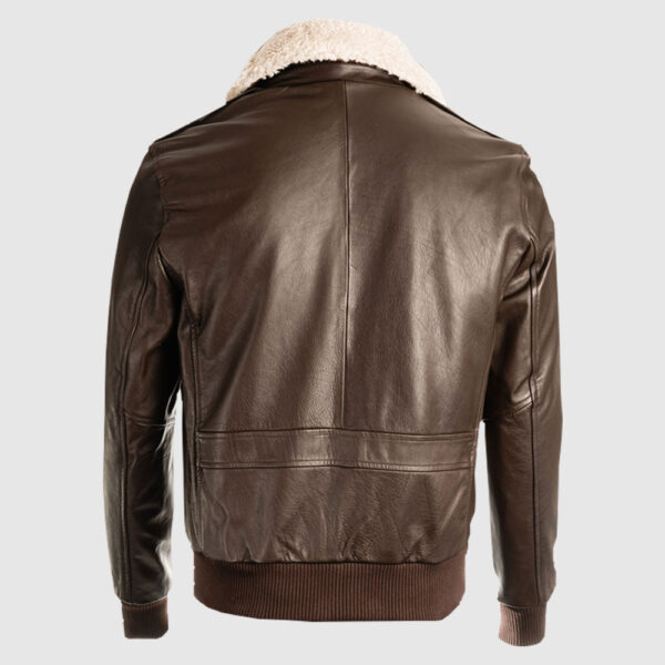 Men Brown Pilot Bomber Shearling Jacket