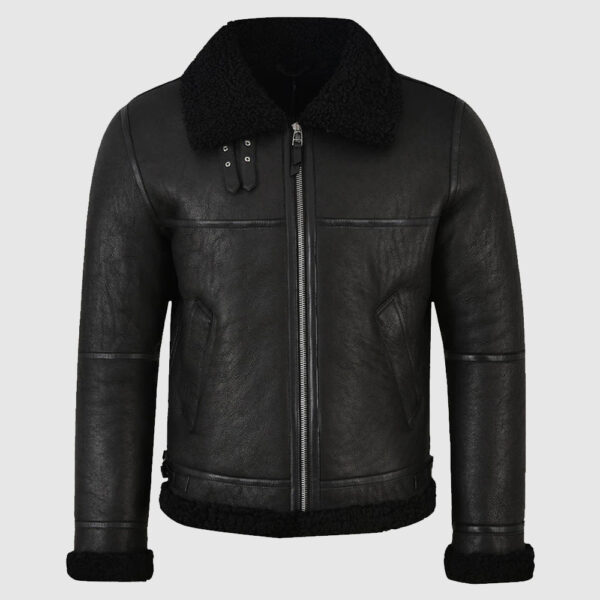 Men Jet Black Shearling Leather Jacket
