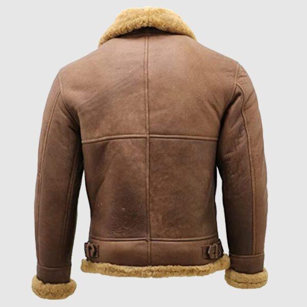 Men's Brown B3 Shearling Sheepskin Bomber Leather Flying Aviator jacket