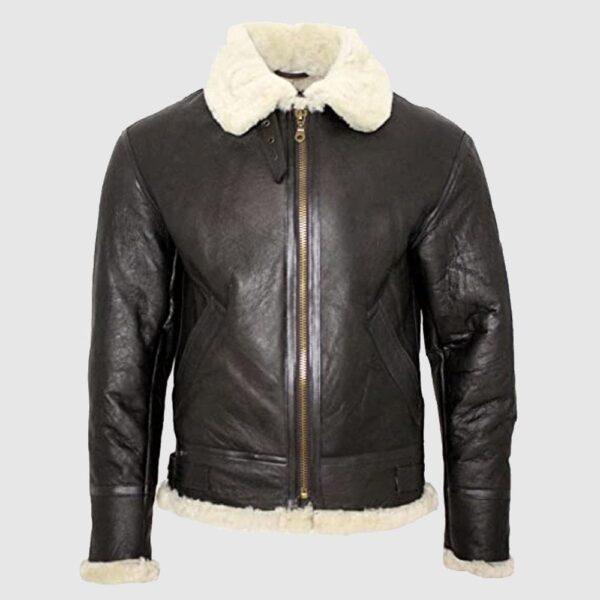 Men's B3 Shearling Sheepskin Bomber Leather Flying Aviator Jacket