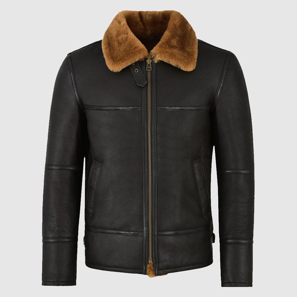 Traditional Black Shearling Jacket For Men