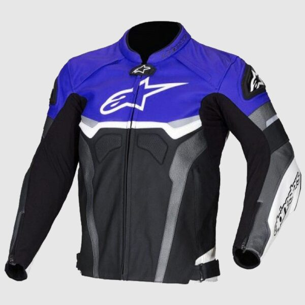 Alpinestars Blue Croes Celer Leather Motorcycle Jacket