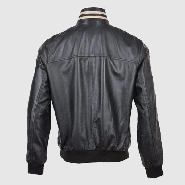 Ashwood Striped Collar Leather Bomber Jacket