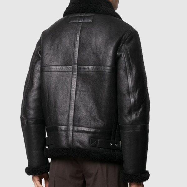 B3 Bomber Black Faux Shearling Jacket