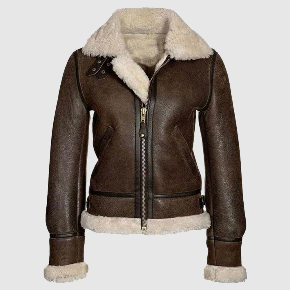 B3 Bomber Distressed Brown Aviator, Shearling Sheepskin Motorcycle Women Leather Jacket With Faux Fur