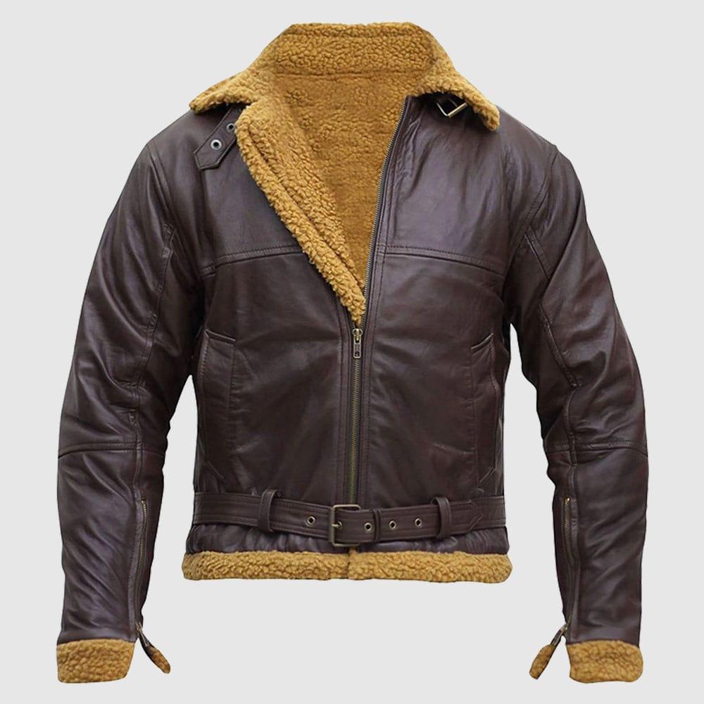 B3 Men Flying Aviator Winter Shearling Sheepskin Bomber Leather Jacket