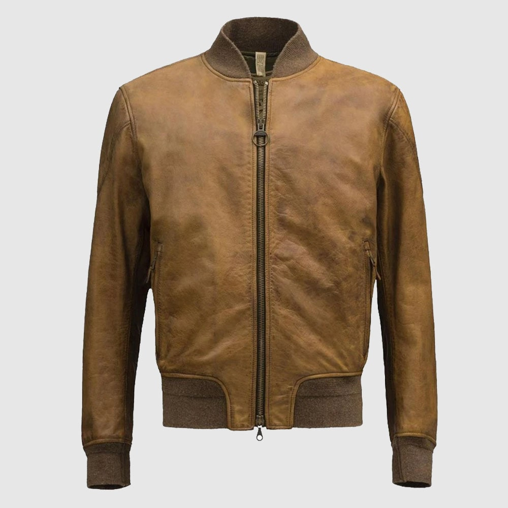 Bomber Brown Fashion Men Leather Jackets