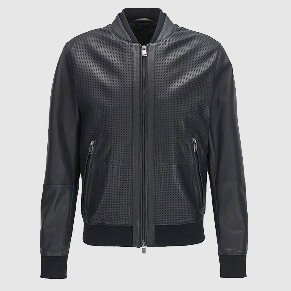 Bomber Jacket in Perforated Leather