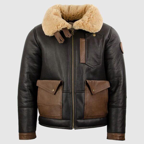 Chocolate Brown Sheepskin Leather Bomber Jacket
