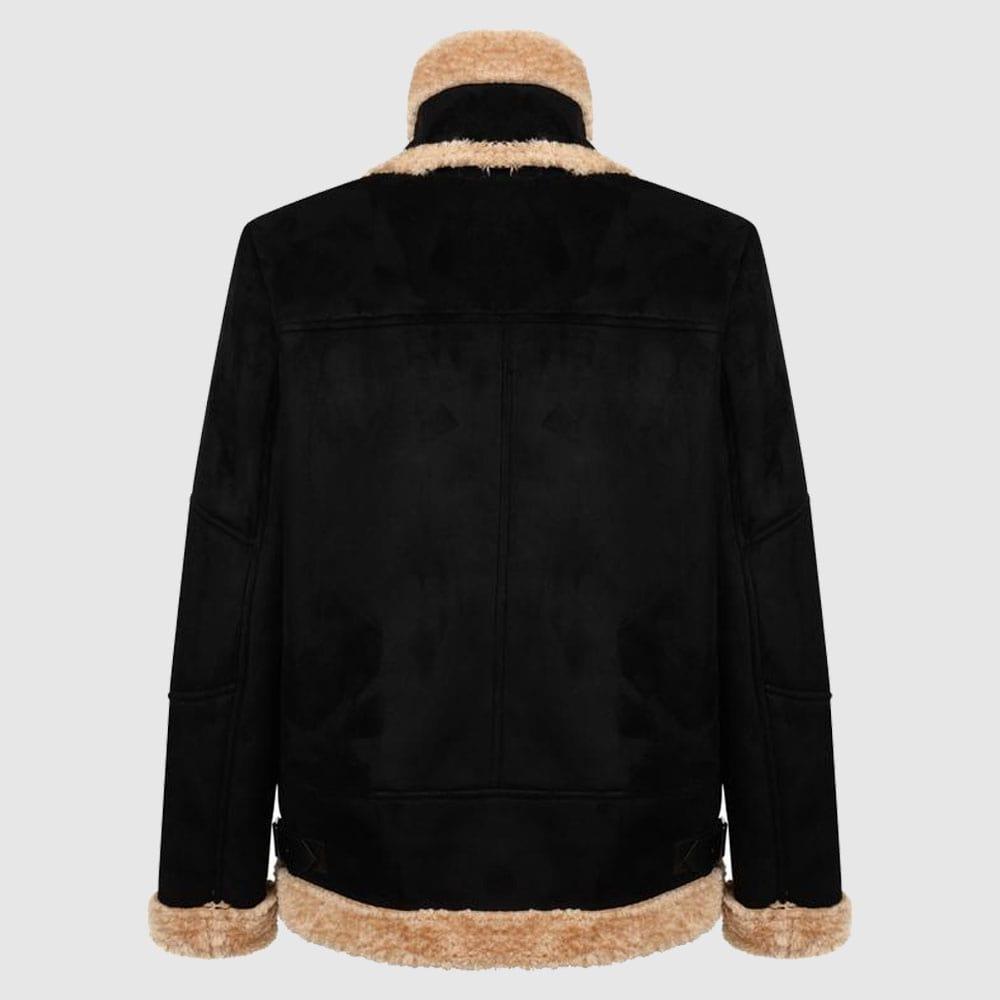 Charcoal Fashion Women's Black Shearling Aviator Biker Jacket-min