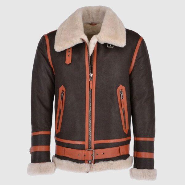 Men Sheepskin Flying Jacket Brown Brown Orange