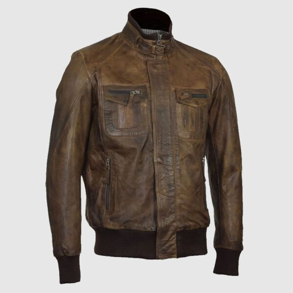 Men Brown Bomber Aviator Biker Jacket