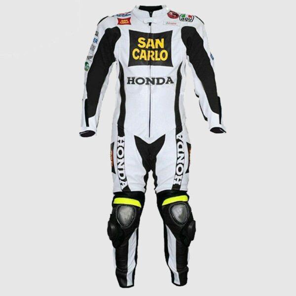 Men Honda San Carlo White Racing Motorcycle Leather Suit Handmade