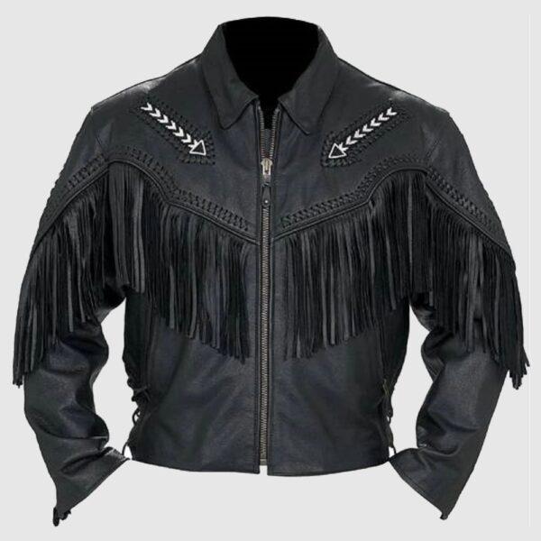 Men's Fashion Western Style Arrow Real Leather Motorbike Jacket Black