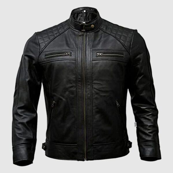 Mens Genuine Leather Biker Jacket Black Motorcycle Jackets