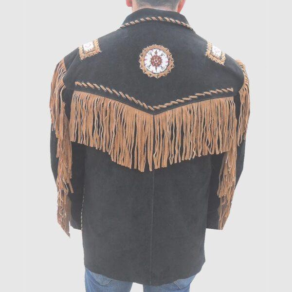 Men's Western coat cowboy suede leather jacket with Fringes Black