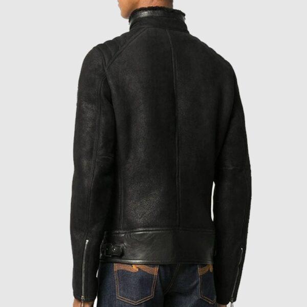 Musky Matt Black Faux Shearling Jacket