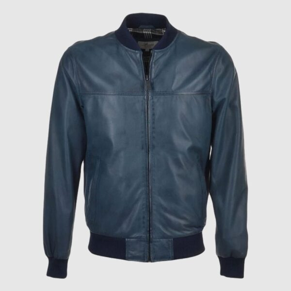 Navy Waxed Bomber Leather Jacket