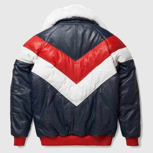 Red and White V Bomber Leather Jacket