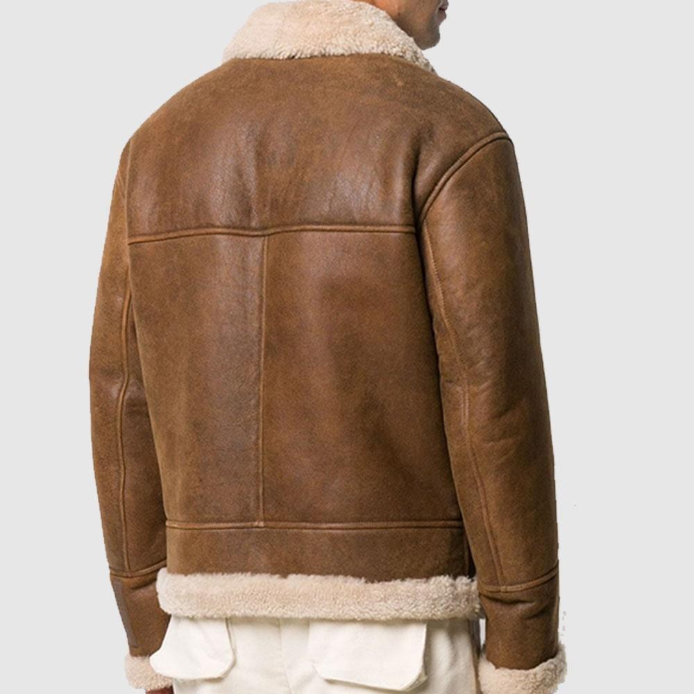 Rome Brown Shearling Leather Jacket sheepskin jacket