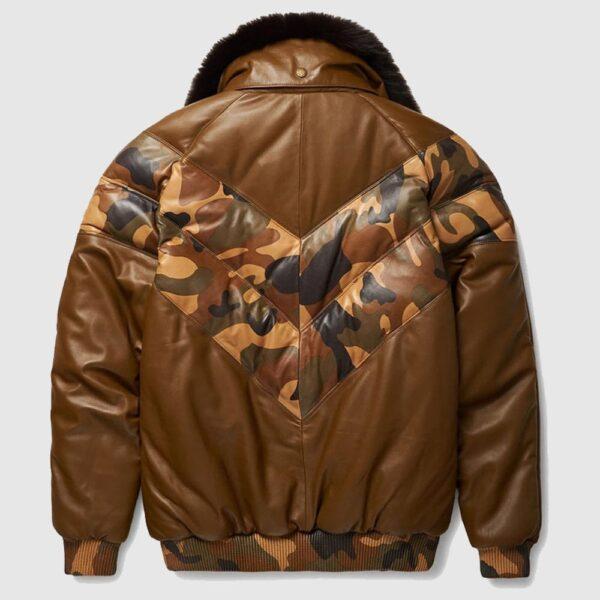 Stylish Color Brown V-Bomber Leather Jacket For Men