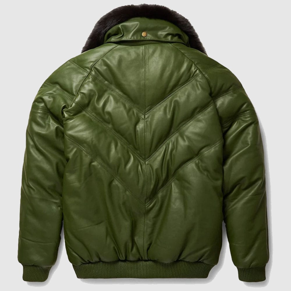 Stylish Design V-Bomber Leather Jacket For Men