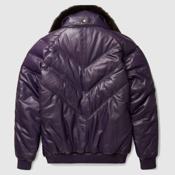 Stylish Look Purple Leather V Bomber Jacket