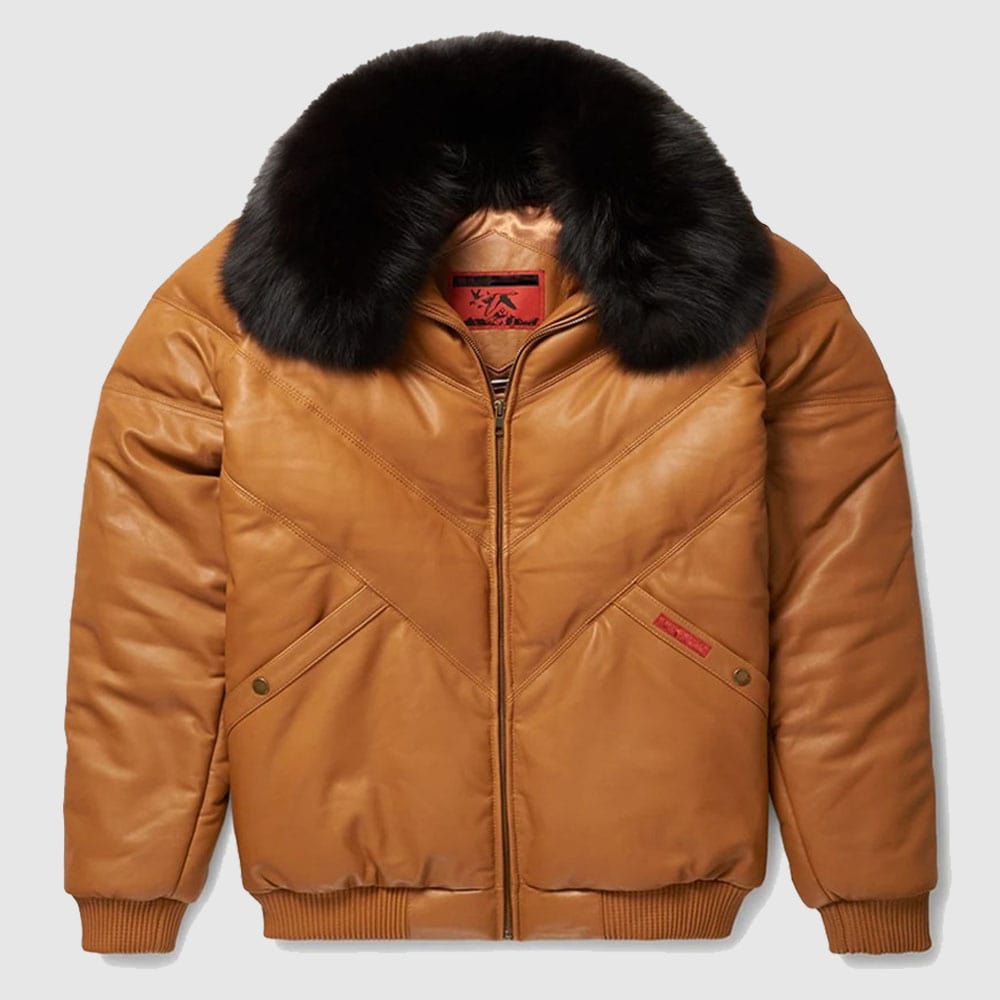 V-Bomber Leather Jacket Brown For Men