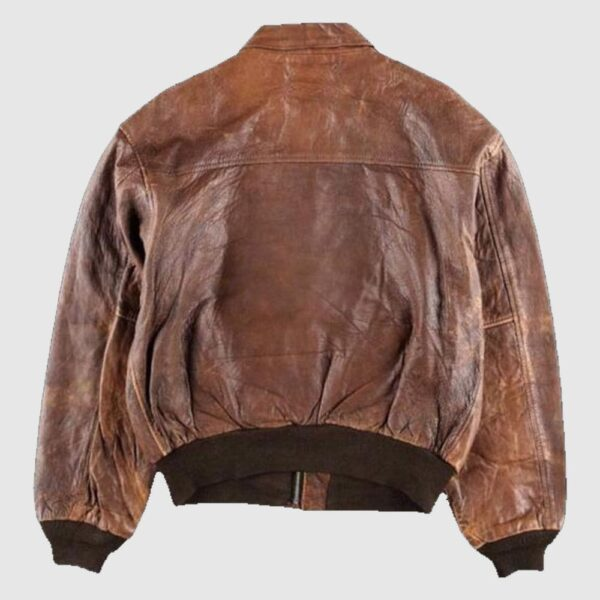 80s A2 Flight Vintage Style Military Leather Jacket Distressed Bomber coat