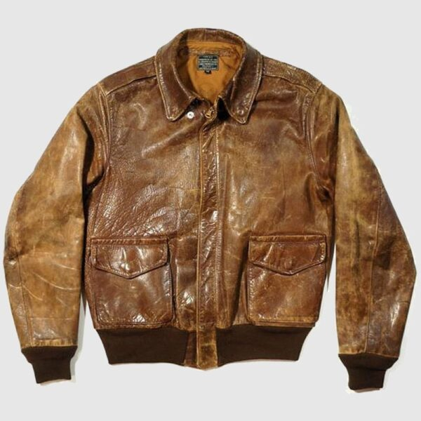 A2 Vintage Military Mens Leather Jacket Distressed Brown