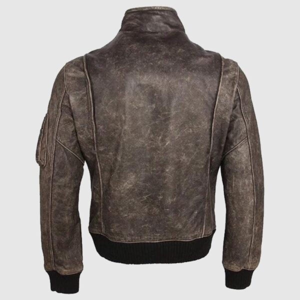 Distressed Brown Mens Real Leather Jacket, Streetwear Leather Coat Vintage Look
