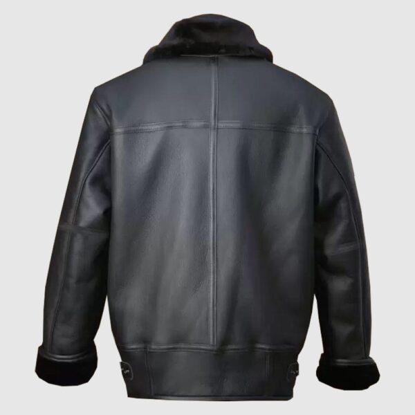 Men Black Aircraft Shearling Jacket