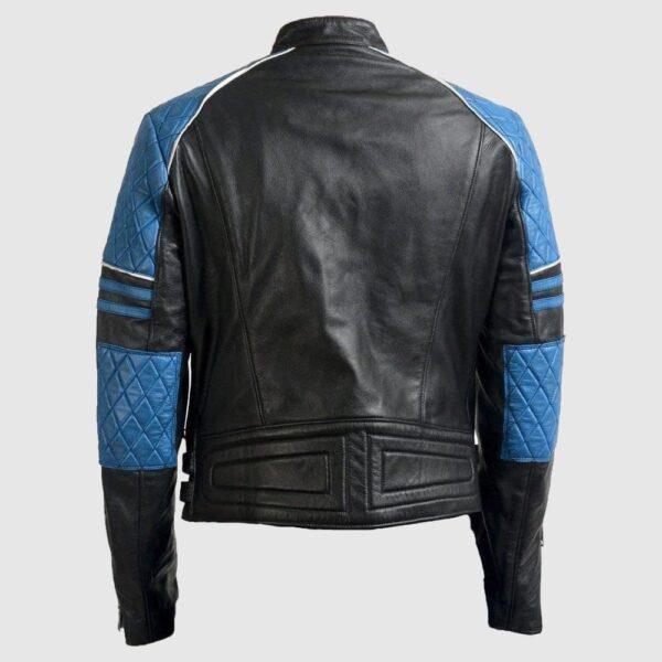 Men Blue Black Motorbike Leather Jacket, Men's Slim Fit Leather Jacket