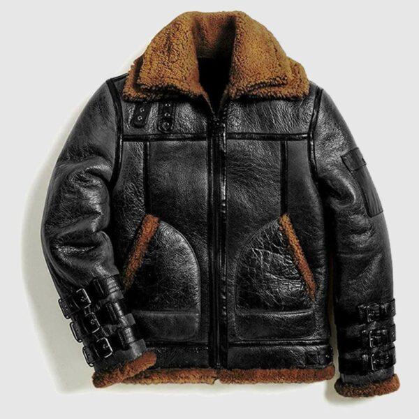 Men Winter Aviator RAF B3 Shearling Real Sheepskin Bomber Jacket