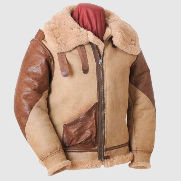 Men's Aviator USAF Real Sheepskin Shearling, Bomber Leather Jacket
