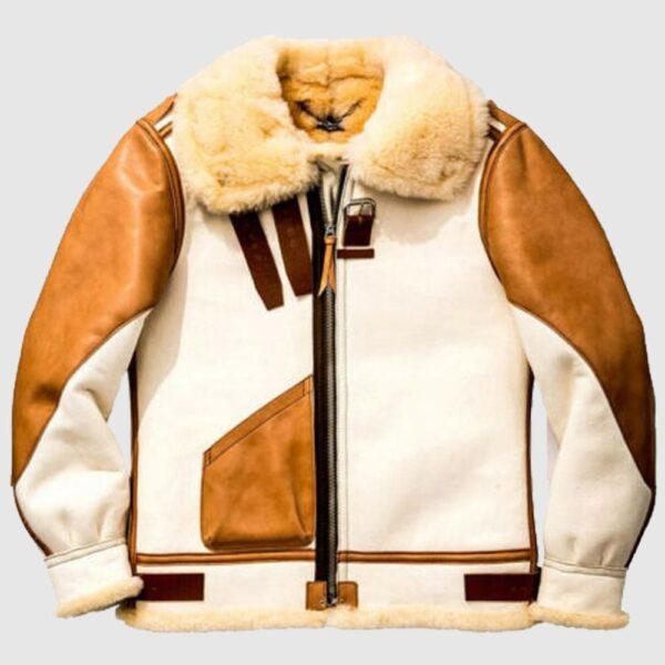 Men's Aviator USAF Real Sheepskin Shearling White Leather Jacket