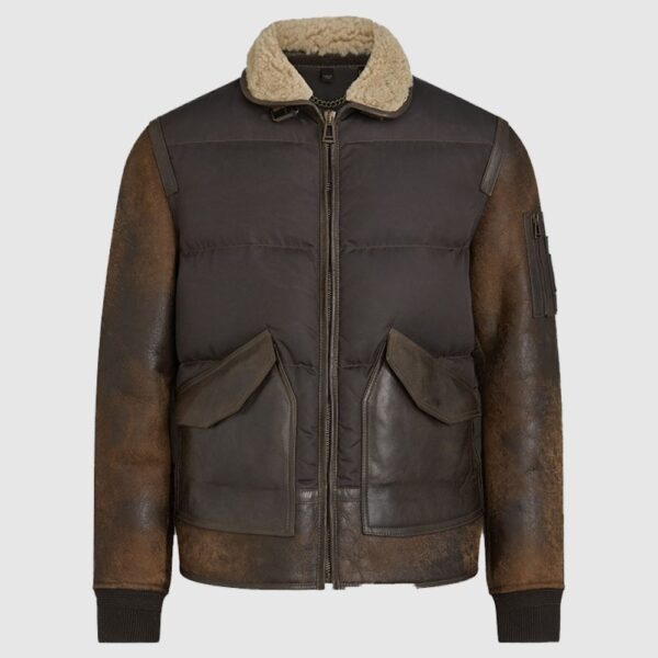 Men's B-3 Vintage Brown Leather Jacket