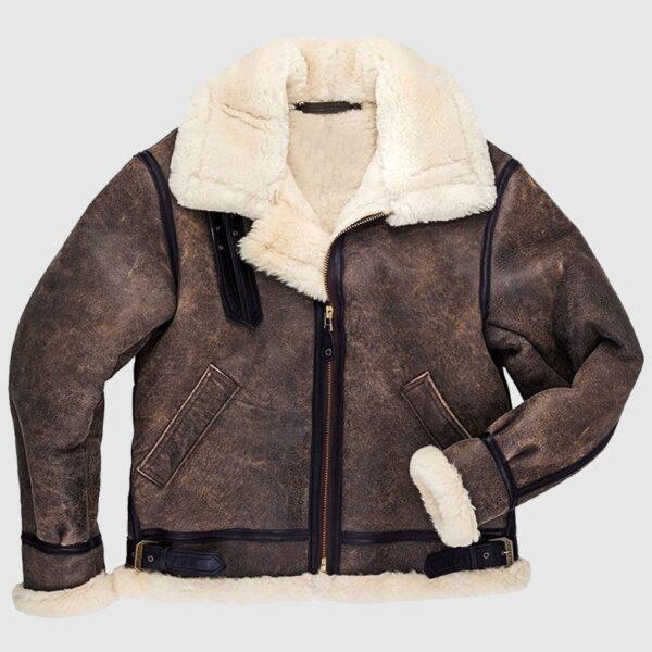 Men's B3 Bomber Pilot Aviator RAF Real Sheepskin Leather Jacket