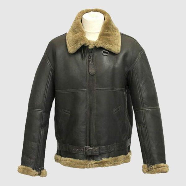 Mens B3 Bomber USAF WWII Pilot Real Sheepskin Shearling Jacket
