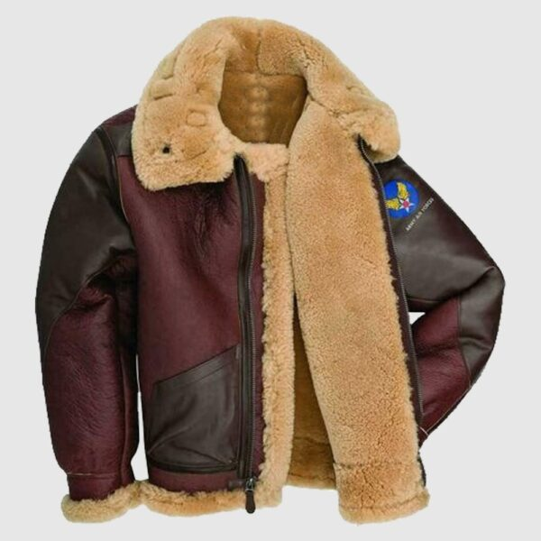 Mens B6 Bomber Aviator USAF WWII Pilot Real Sheepskin Leather Jacket