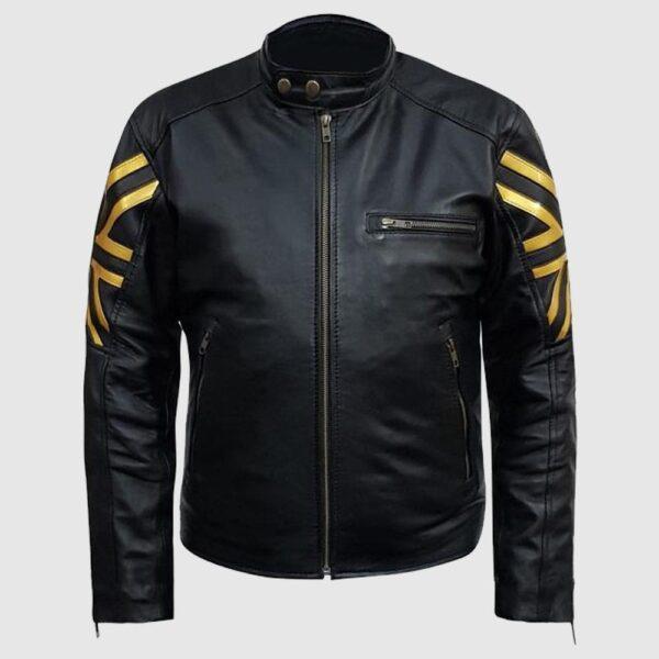 Mens Black & Gold UK Flag Leather Jacket